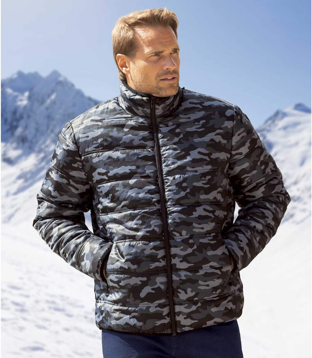 Men's Black & Grey Camouflage Puffer Jacket