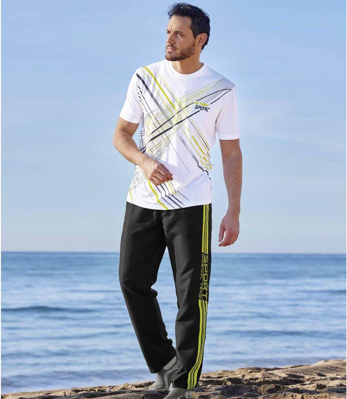 Men's Black Microfibre Sweatpants Atlas For Men