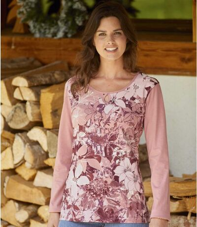 Women's Pink Long Sleeve Floral Top