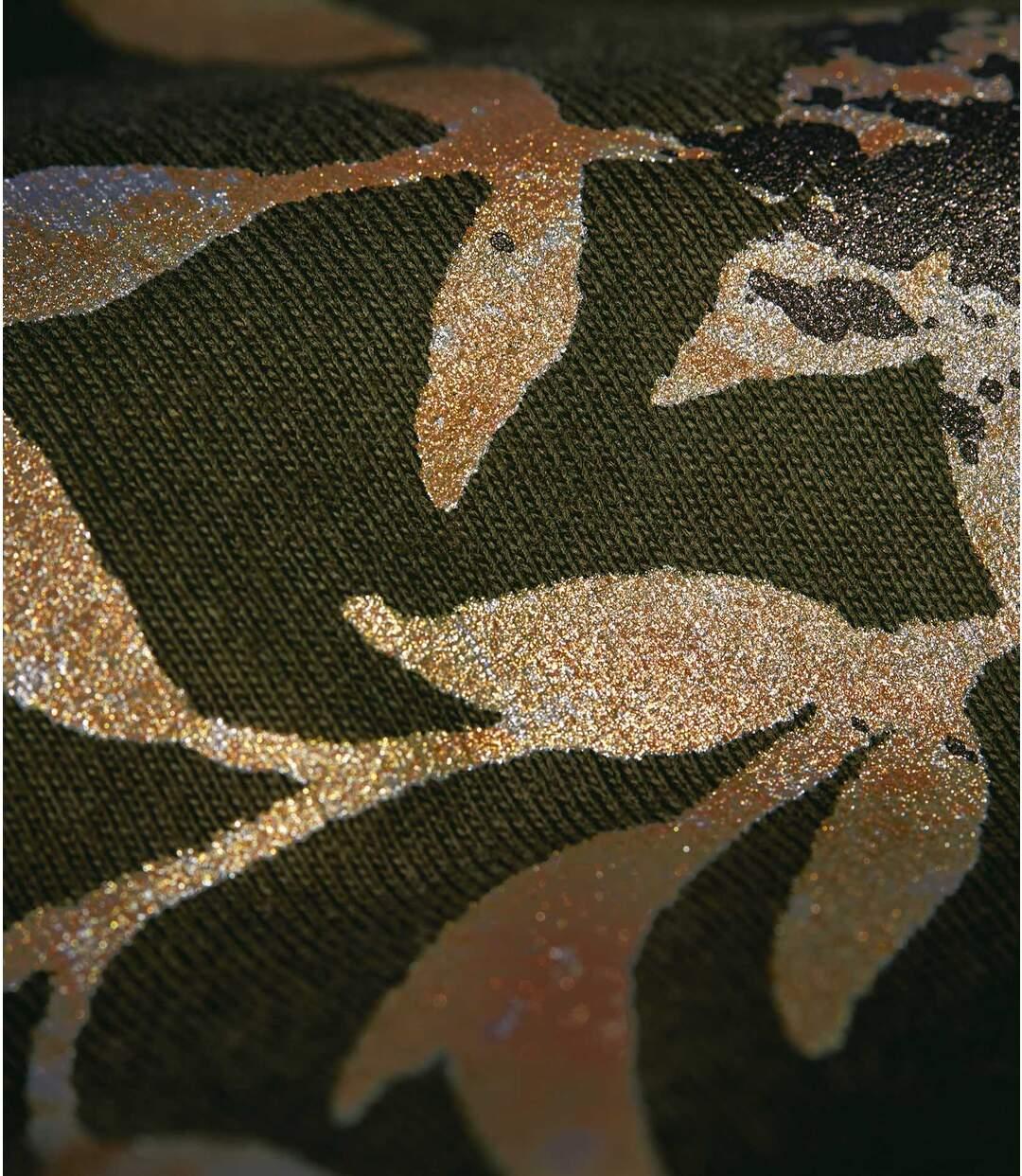 Women's Khaki Top - Leaf Motif