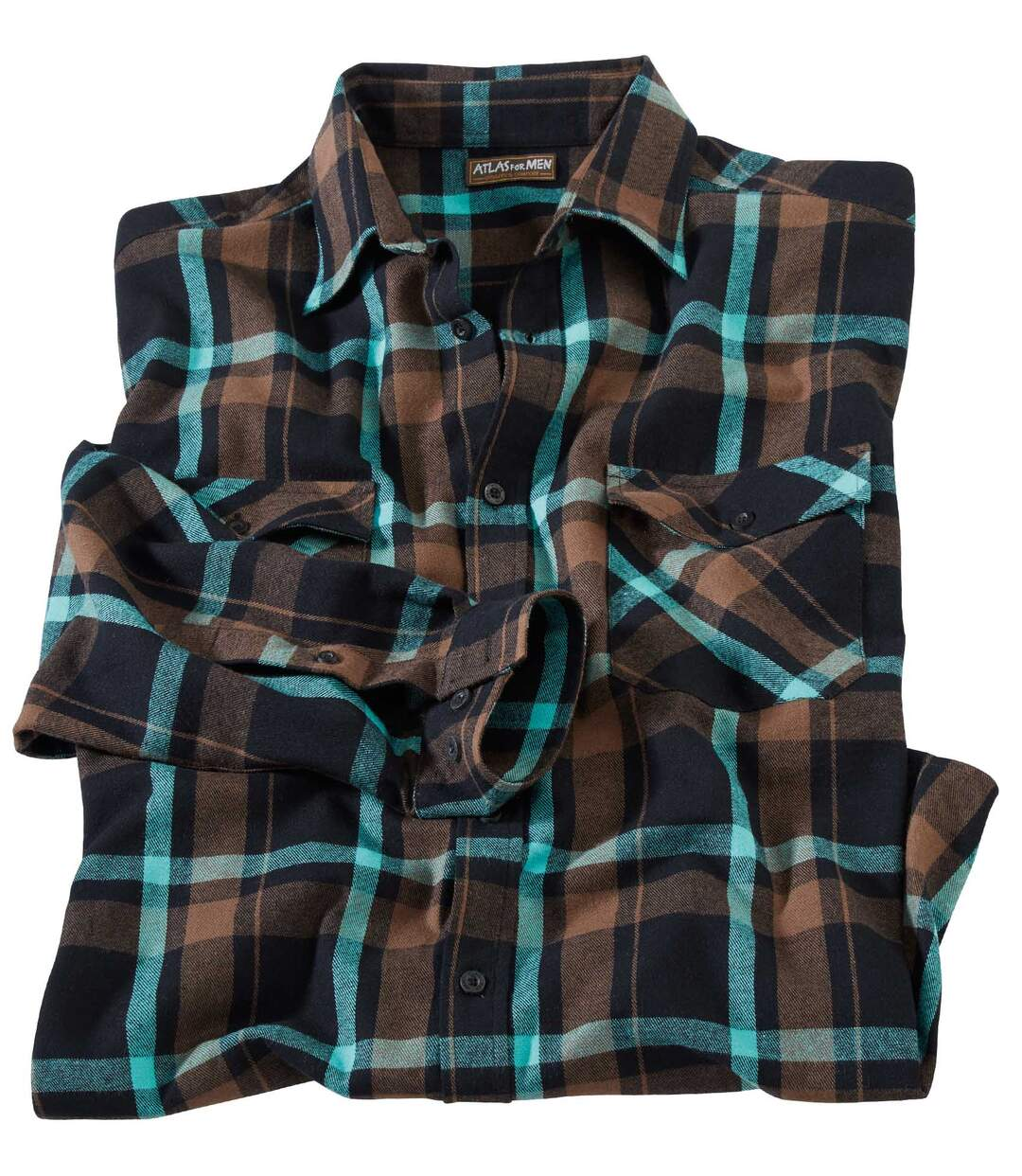 Men's Checked Flannel Shirt - Black Turquoise