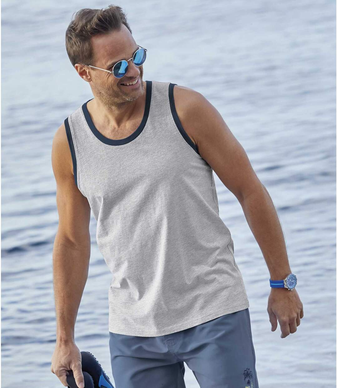Pack of 3 Men's Sunny Beach Vests - Grey Blue Green