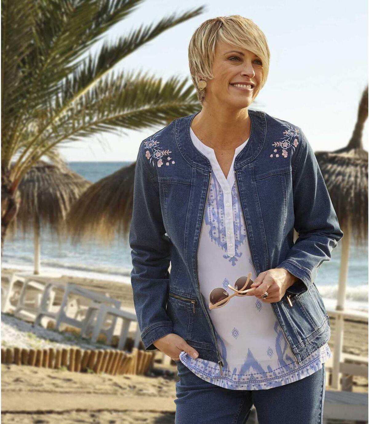Veste Jeans Stretch Brodée  Atlas For Men