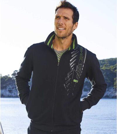 Men's Black Brushed Fleece Sports Jacket - Full Zip