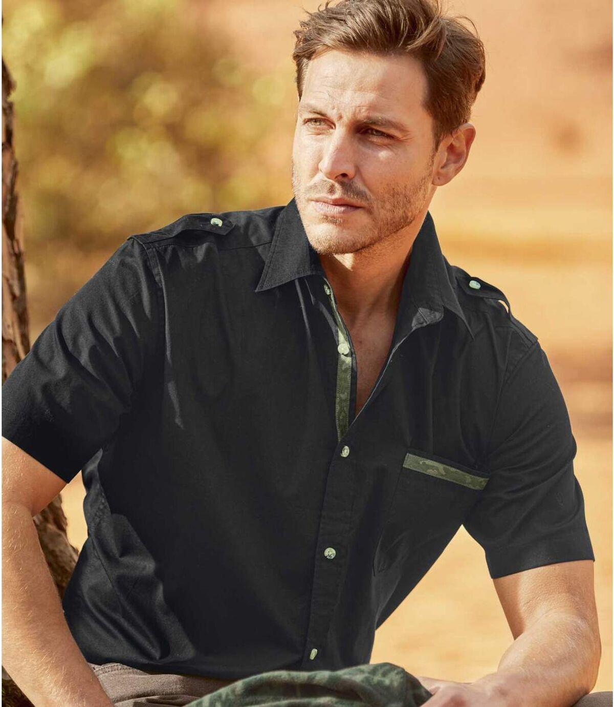 Men's Black Shirt with Camouflage Details Atlas For Men