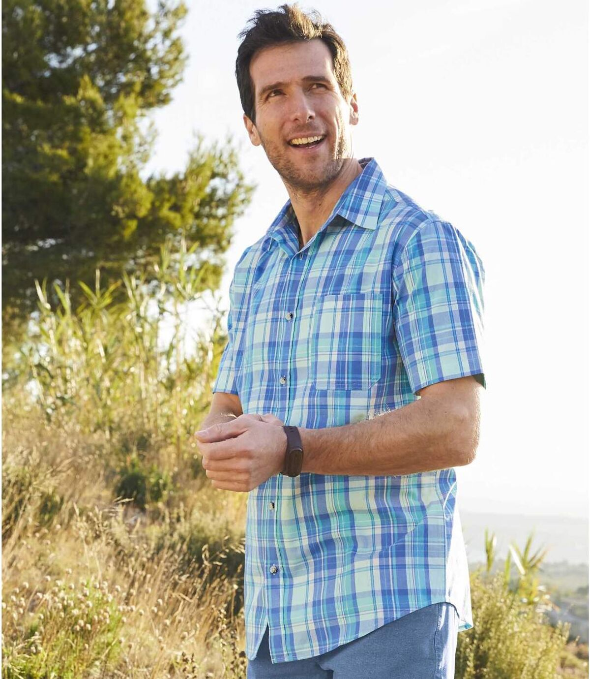 Geruit overhemd met stretch Blue Line Atlas For Men