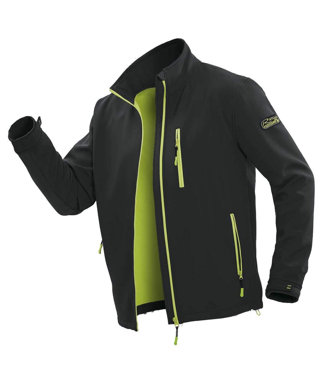 Men's Microfleece-Lined Softshell Jacket - Water-Repellent - Black Atlas For Men