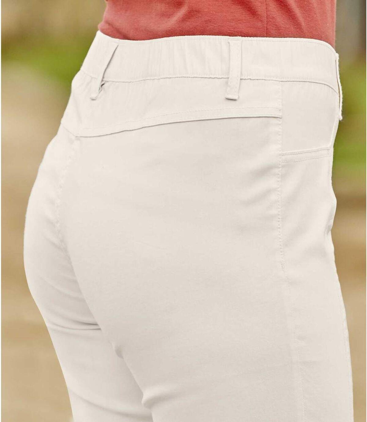 Women's Ecru Stretchy Summer Cropped Pants Atlas For Men