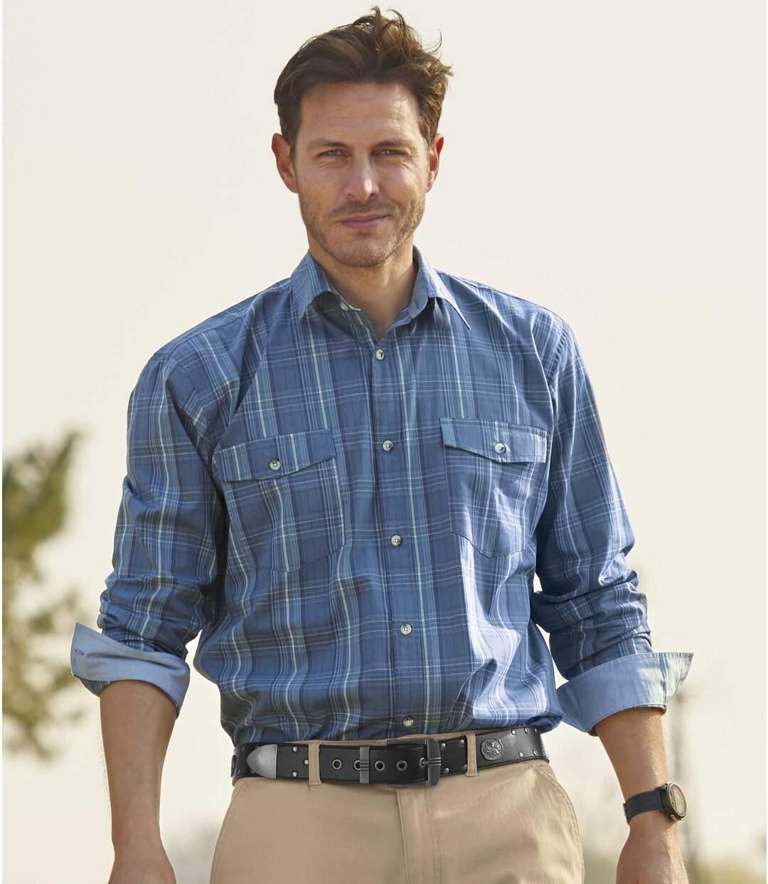 Men's Blue Hill Checked Poplin Shirt