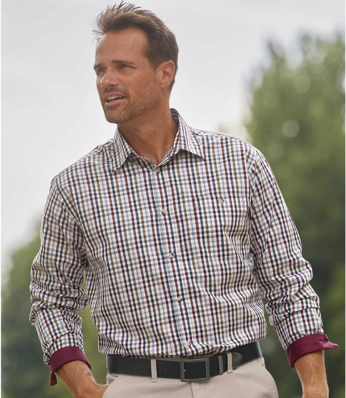 Koszula z popeliny w drobną kratę  Atlas For Men