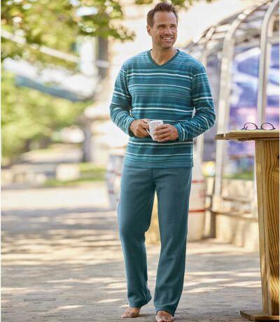 Kékeszöld mikropolár pizsama