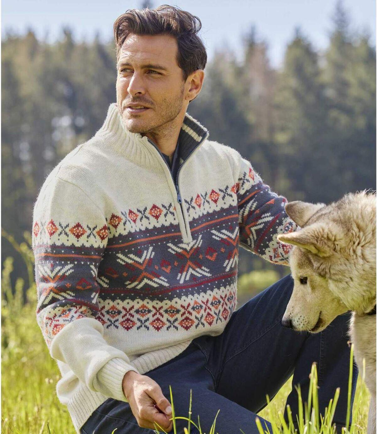 Trykotowy, żakardowy sweter z wykładanym kołnierzem Atlas For Men