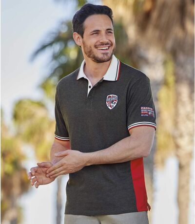 Men's Sporty Polo Shirt - Anthracite Red