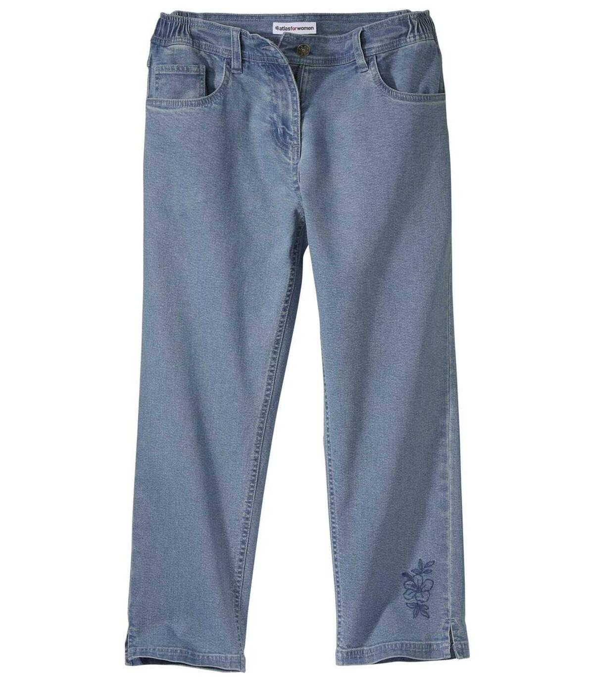 Haftowane jeansy 7/8 ze stretchu Atlas For Men