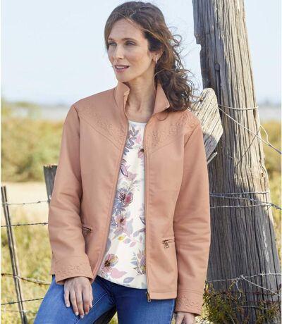 Women's Pink Faux-Leather Jacket