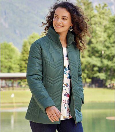 Women's Green Full Zip Padded Jacket