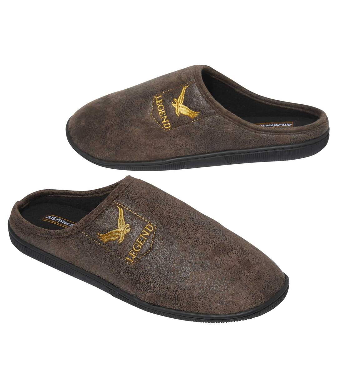 Men's Brown Faux Suede Slippers with Polar Fleece Lining