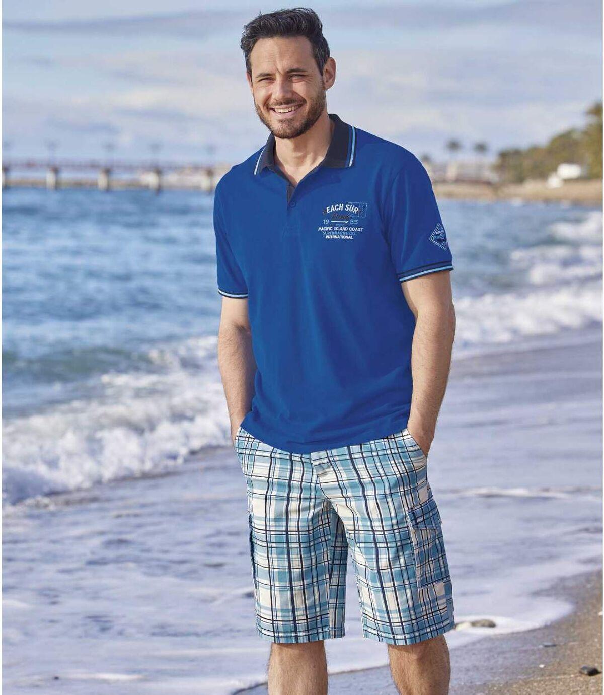 Men's Turquoise Checked Shorts Atlas For Men