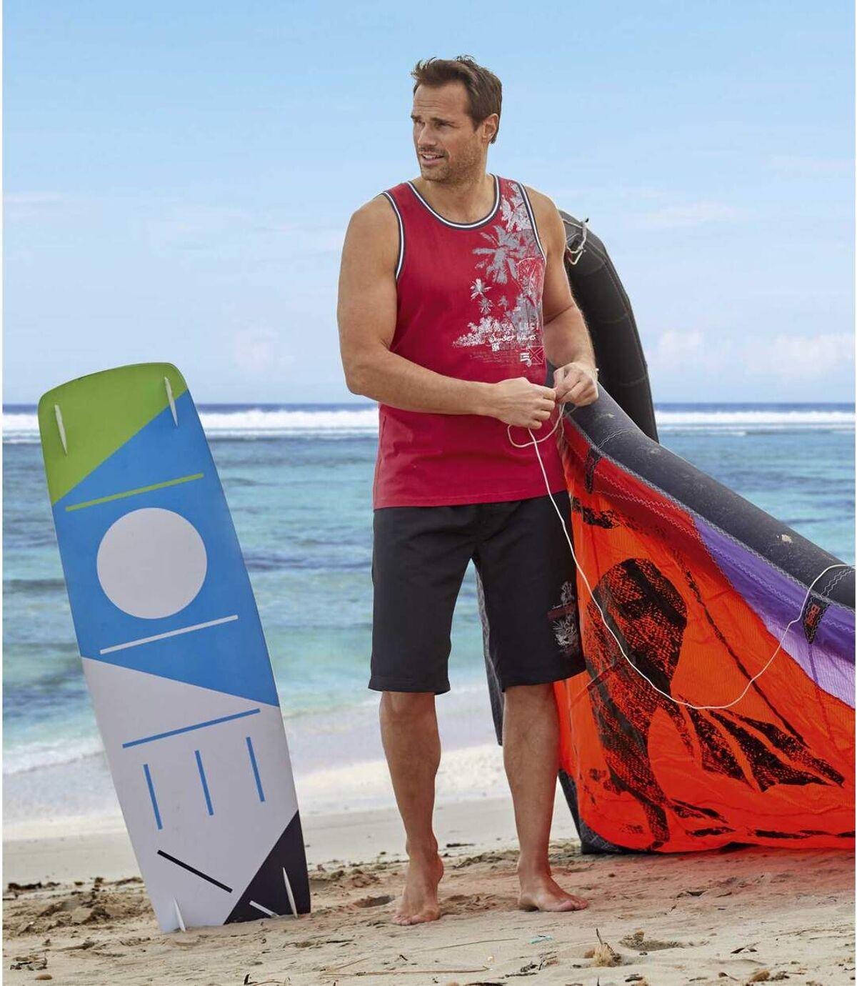 Men's Surf Print Swim Shorts - Black Atlas For Men