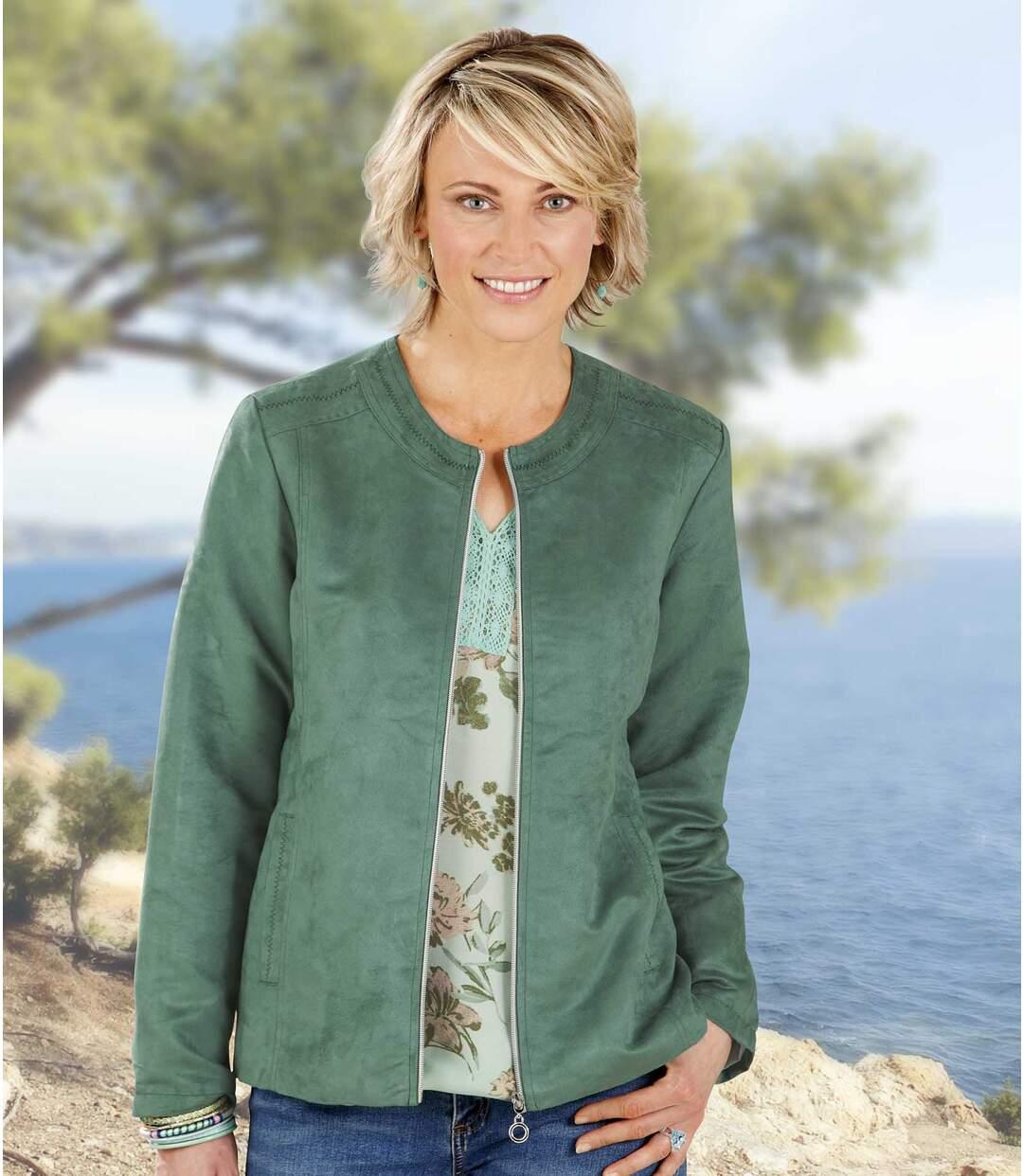 Women's Green Faux Suede Zip Up Jacket