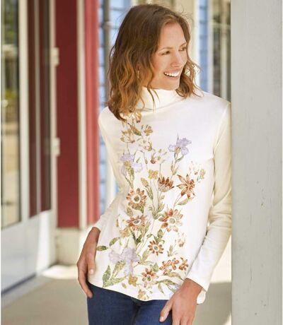 T-Shirt mit Blumendekor und Rollkragen
