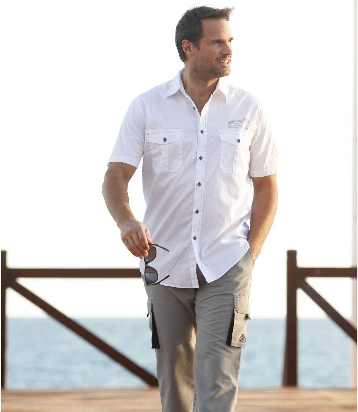 Men's White Short Sleeve Aviator Shirt Atlas For Men