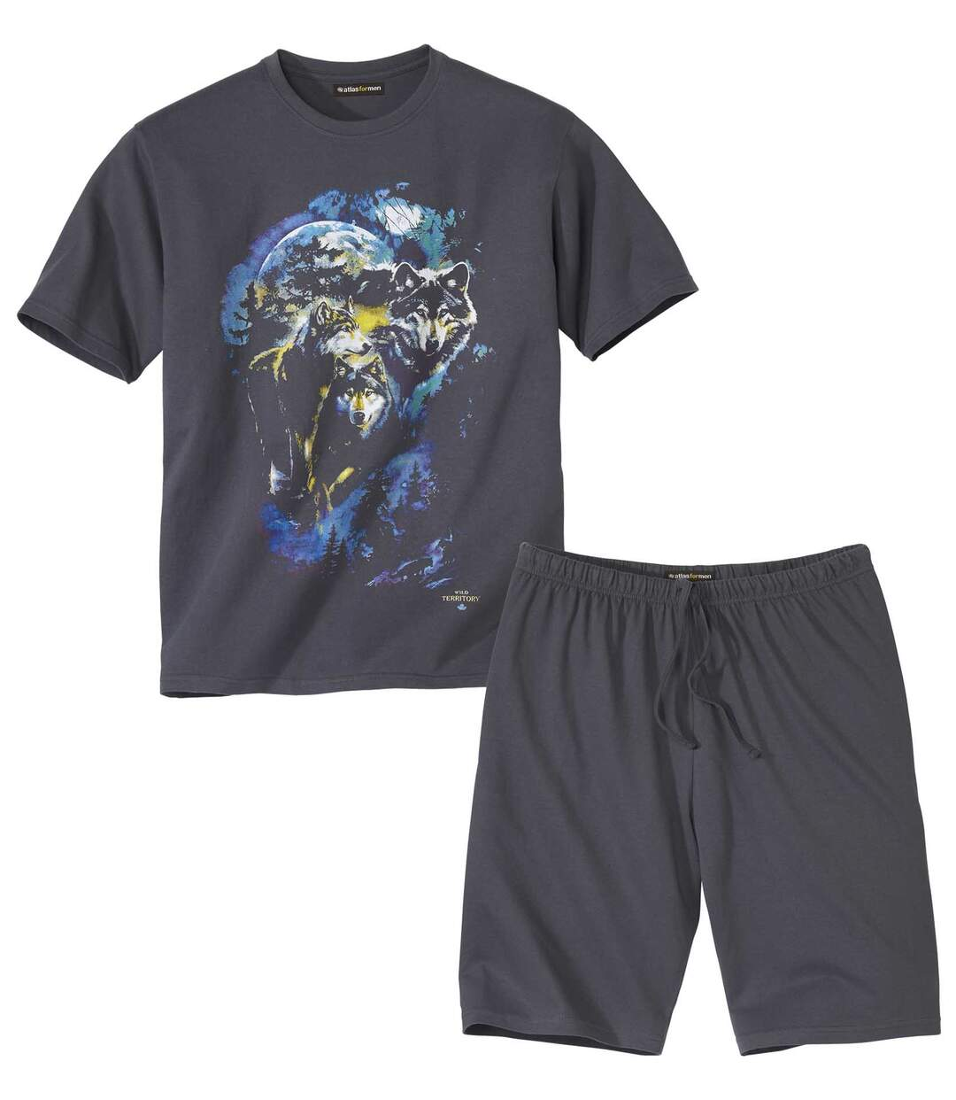 Men's Wolf Print Short Pyjama Set - Grey  Atlas For Men