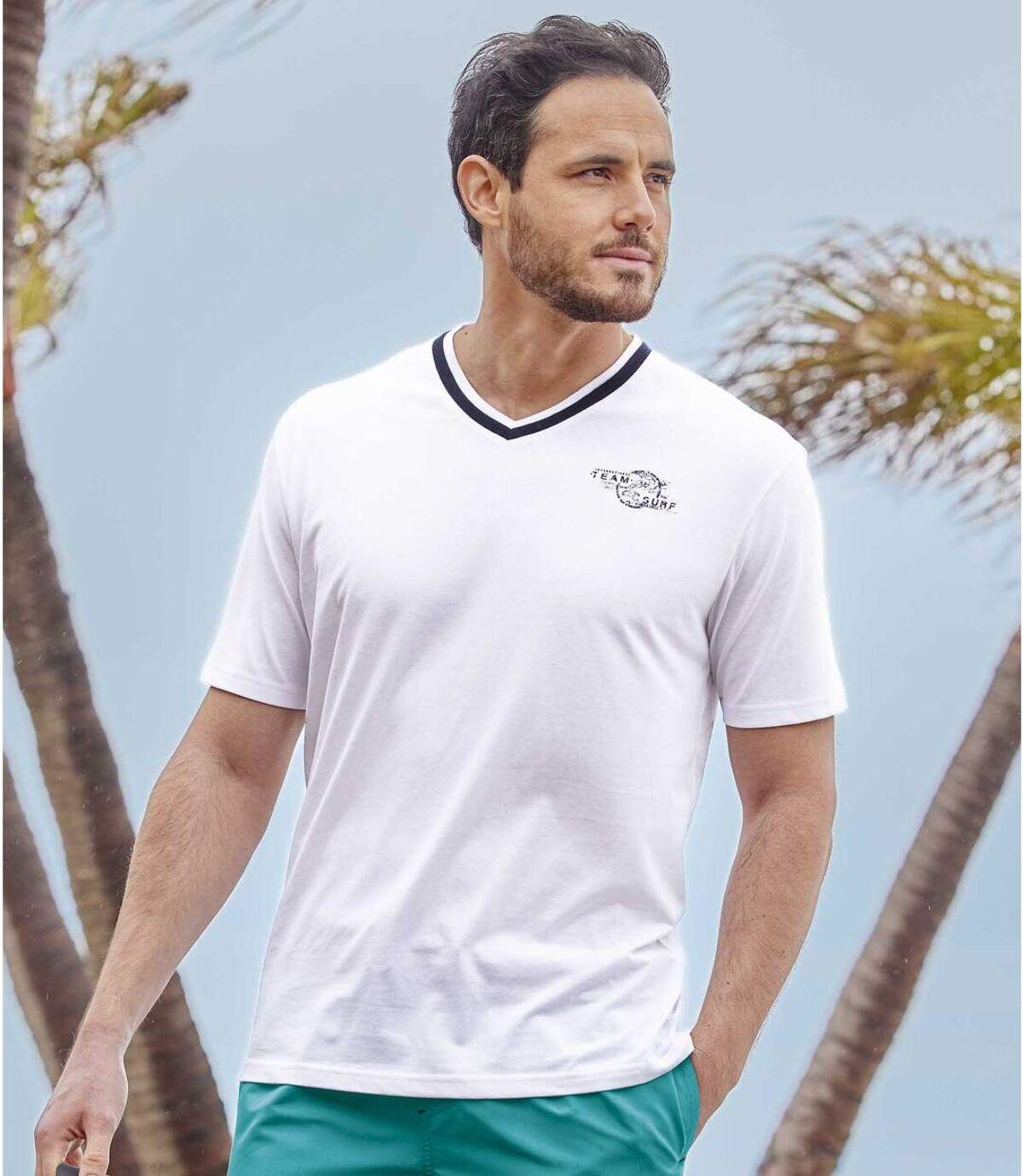 Pack of 3 Men's V-Neck T-Shirts - White Turquoise Purple Atlas For Men