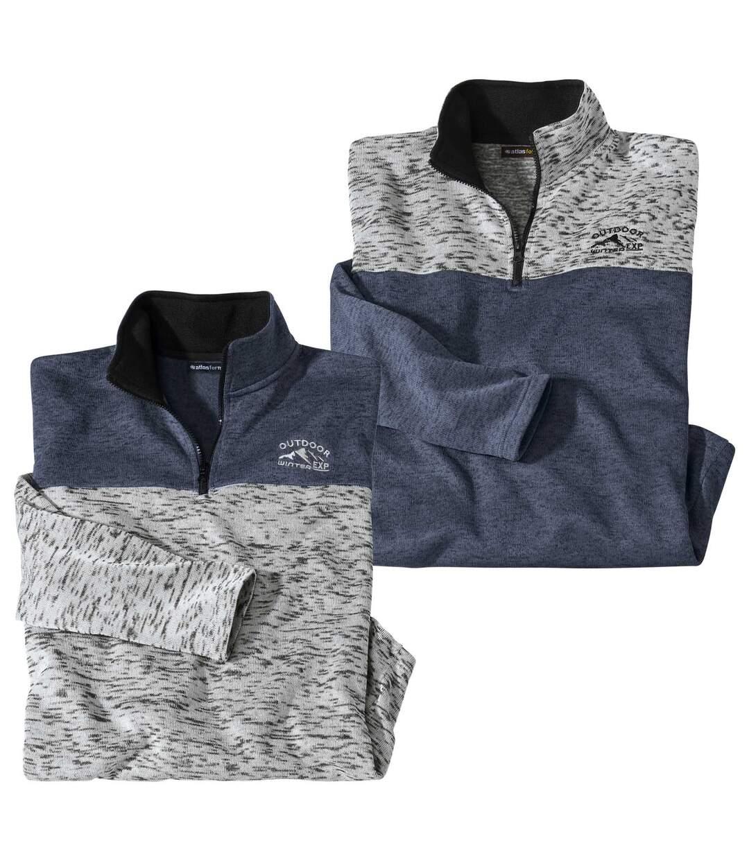 Pack of 2 Men's Half Zip Brushed Fleece Jumpers - Grey Blue Atlas For Men
