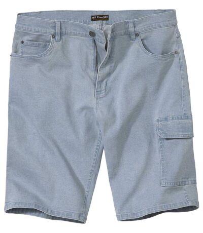 Men's Light Blue Denim Cargo Shorts