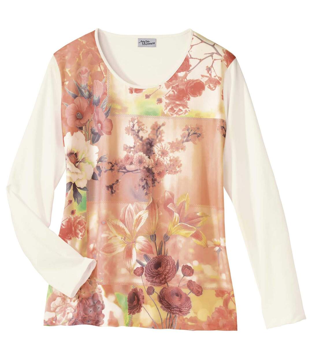 Women's Long Sleeve Top - Floral Motif