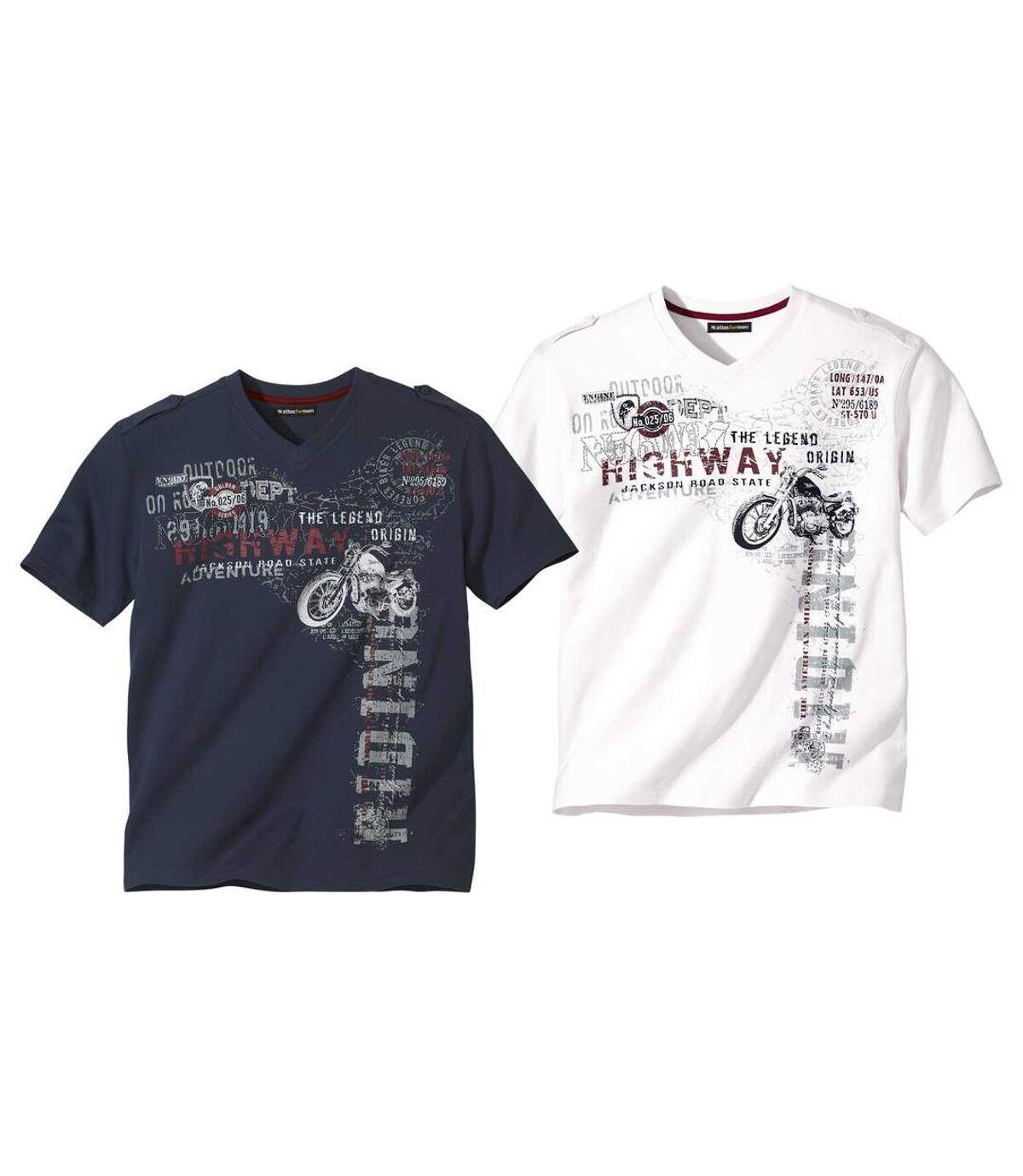 Pack of 2 Men's Printed T-Shirts - White Navy Atlas For Men