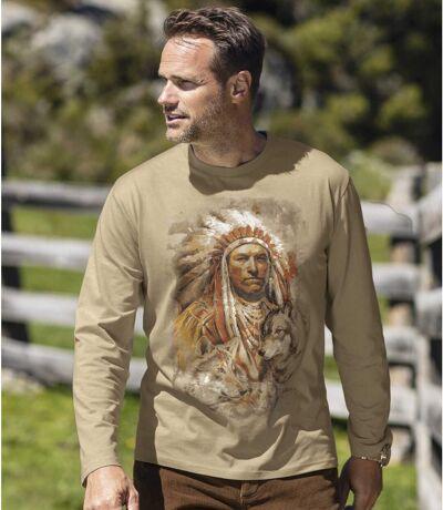 Men's Beige Print Long Sleeve Top