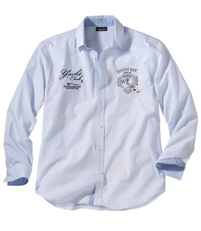 Chemise blanche et bleue rayée Homme Yachting Héritage