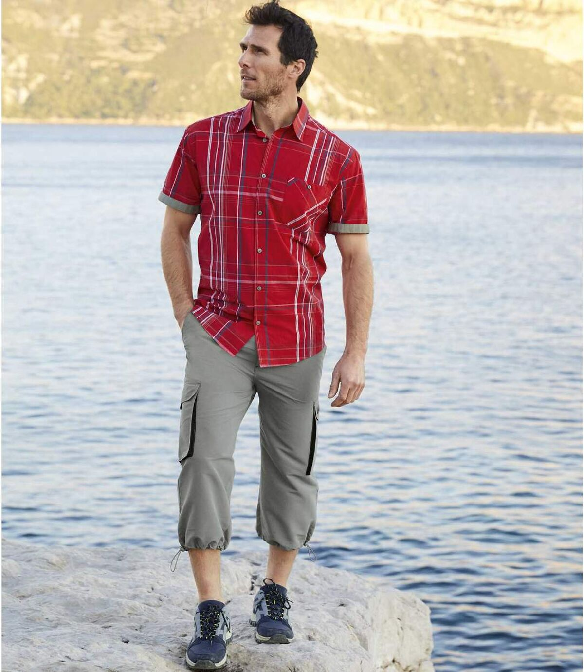 Men's Grey Microfibre Cropped Pants Atlas For Men