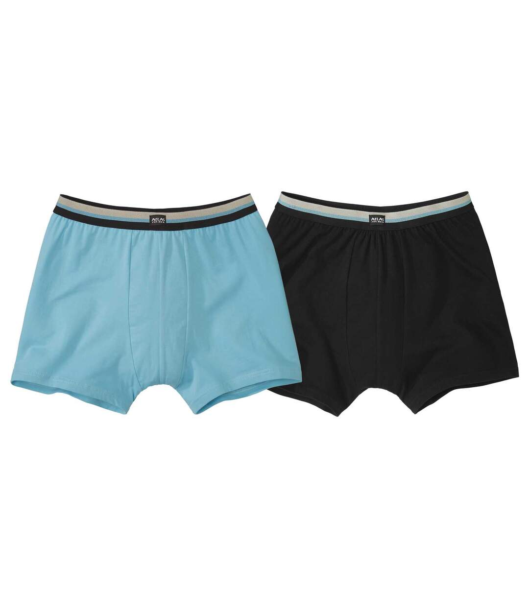 Pack of 2 Stretch Comfort Boxers - Black Turquoise Atlas For Men
