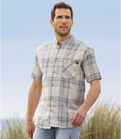 Stehkragen-Hemd mit Waffel-Effekt