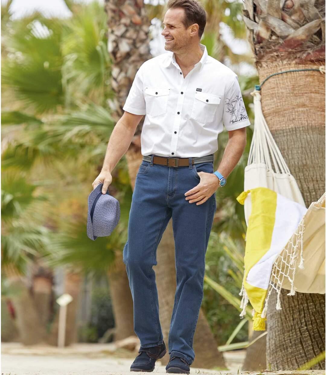 Blaue Regular-Jeans mit Stretch-Effekt