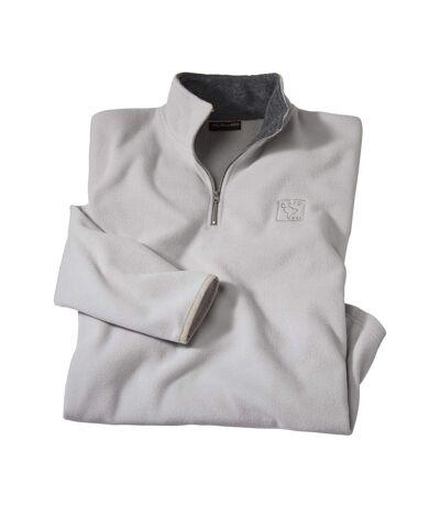 Men's Microfleece Half Zip Jumper - Pearl Grey