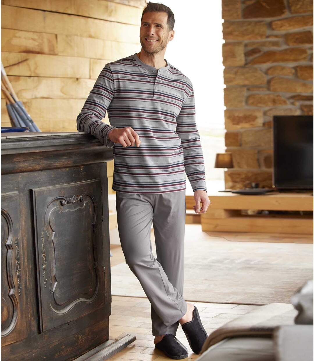 Pyjama mit gestreiftem Oberteil Atlas For Men