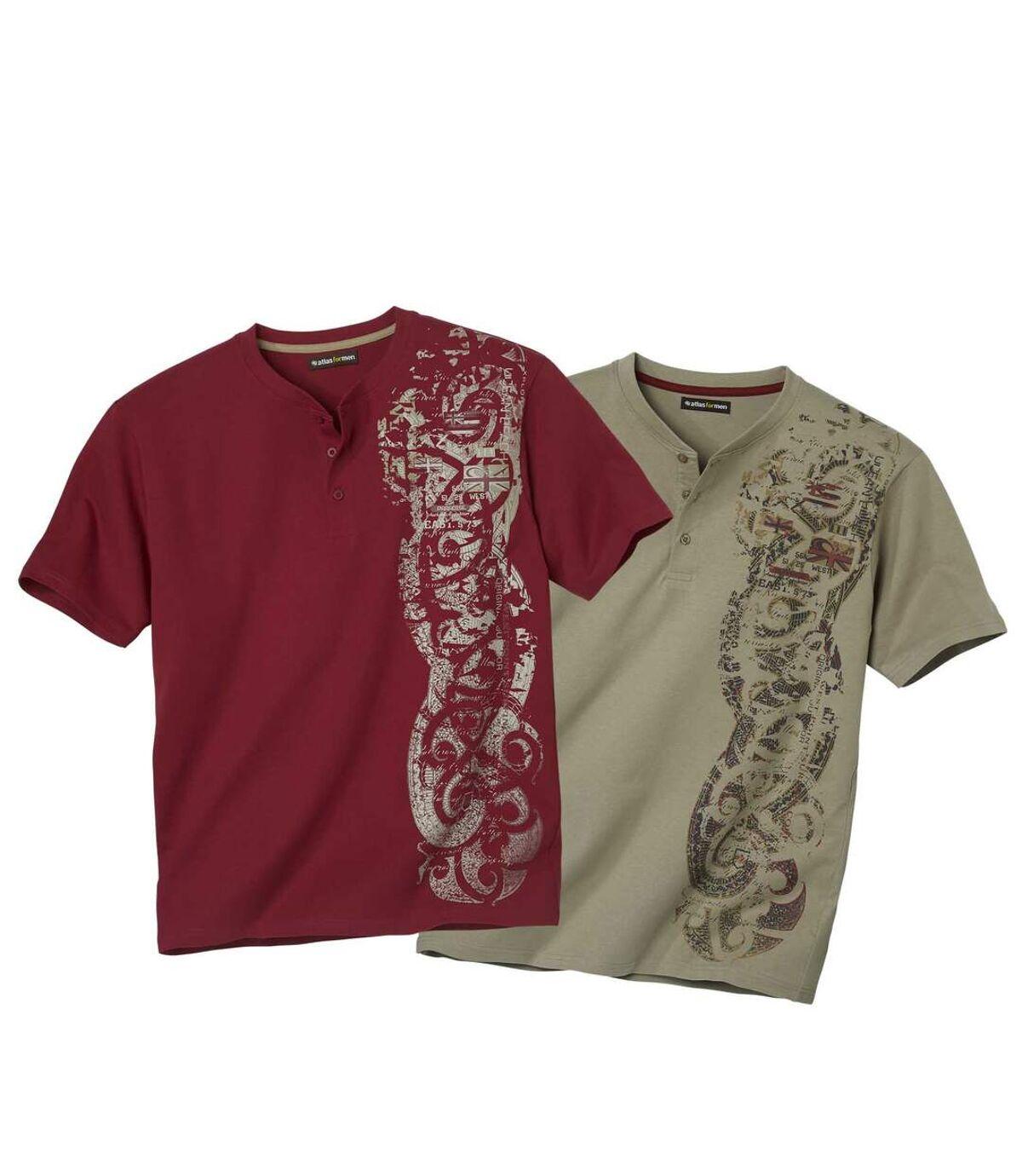 Sada 2 triček Maori s knoflíčkovým zapínáním u krku Atlas For Men