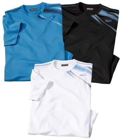 Pack of 3 Men's Graphic Print T-Shirts - Black White Turquoise