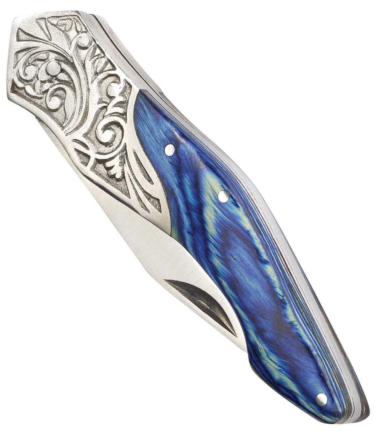 Nóż z rękojeścią z drewna i grawerowanego metalu Atlas For Men