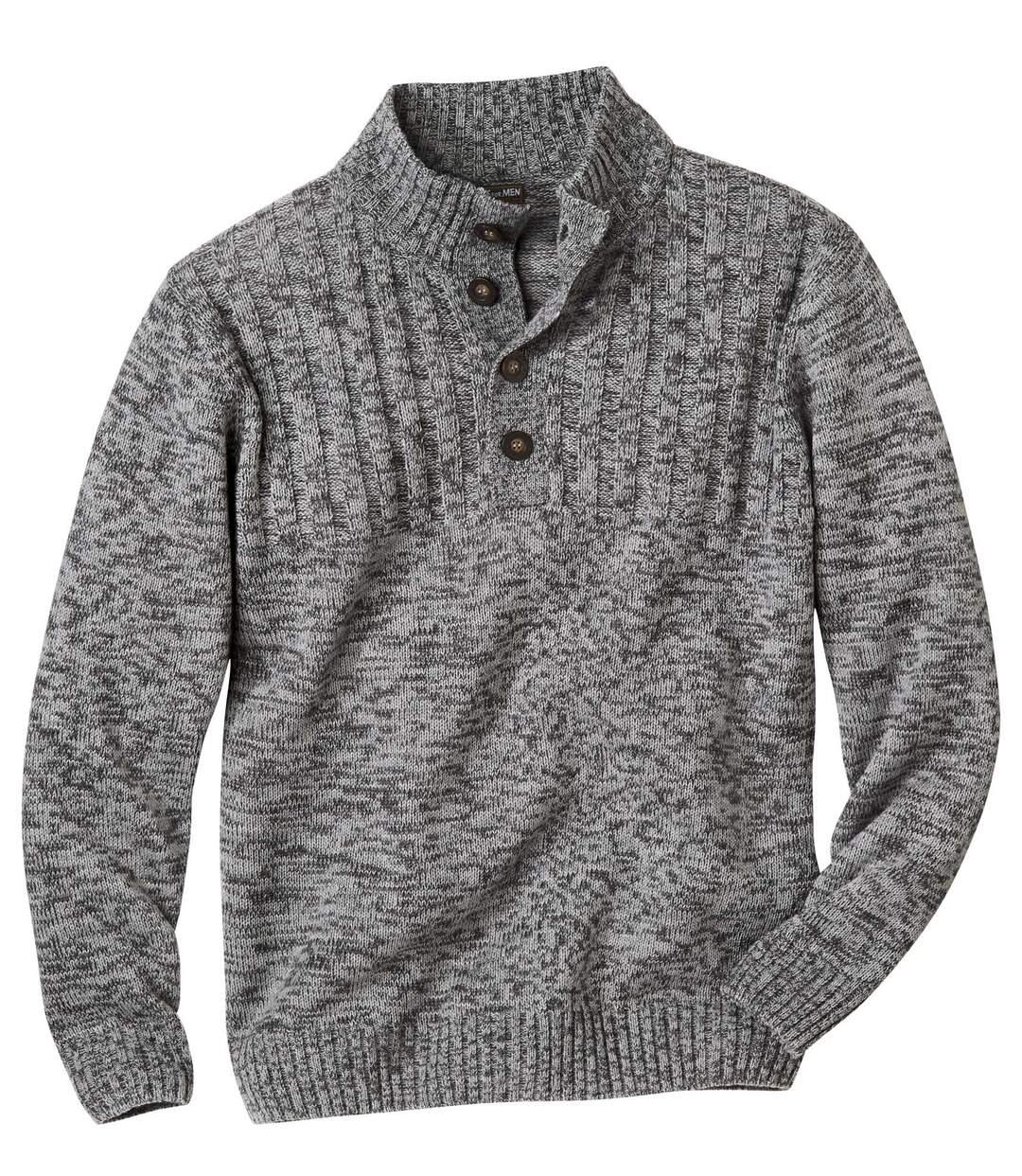 Trykotowy sweter z kołnierzem zapinanym na guziki