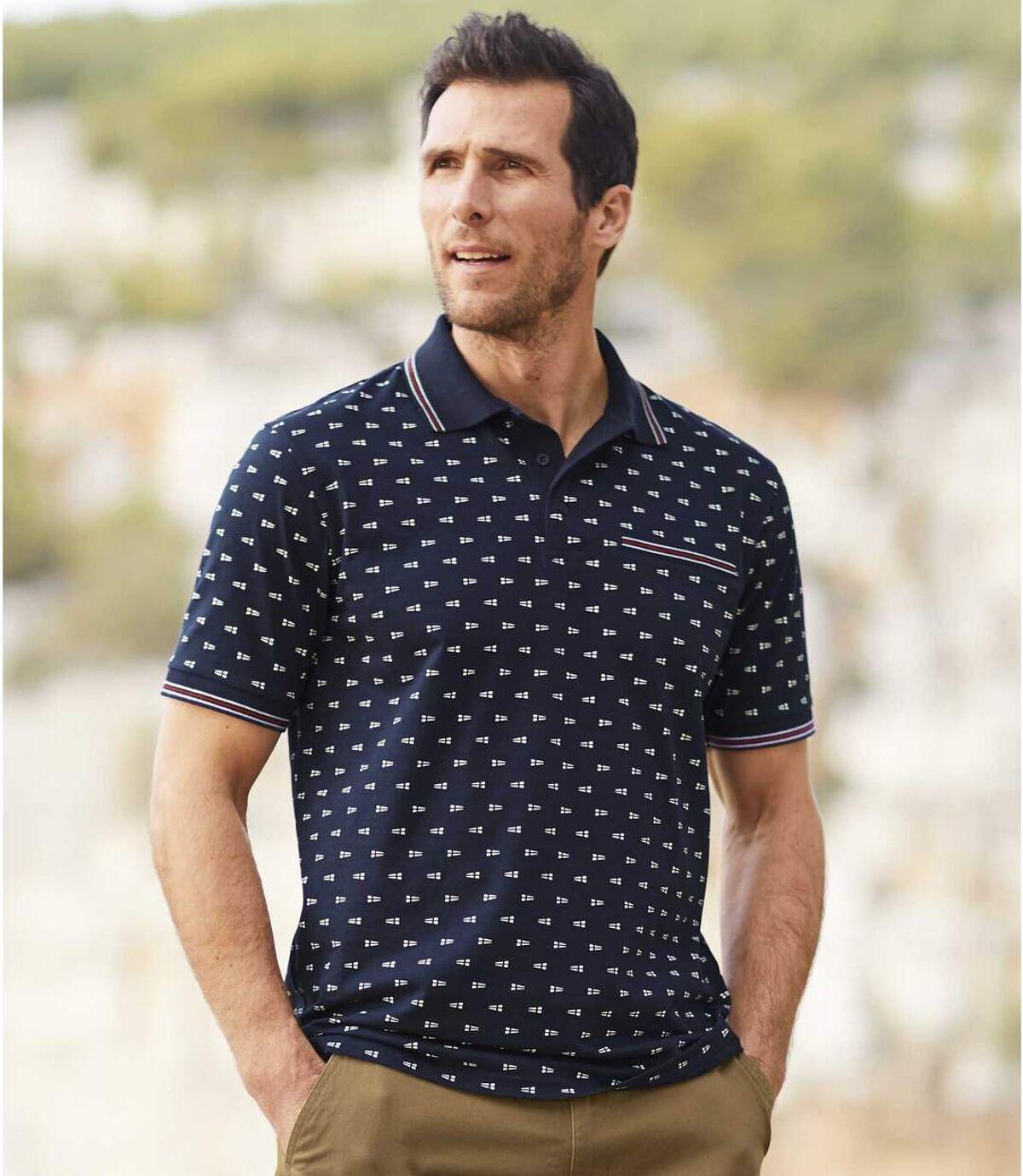 Men's Navy Patterned Polo Shirt Atlas For Men