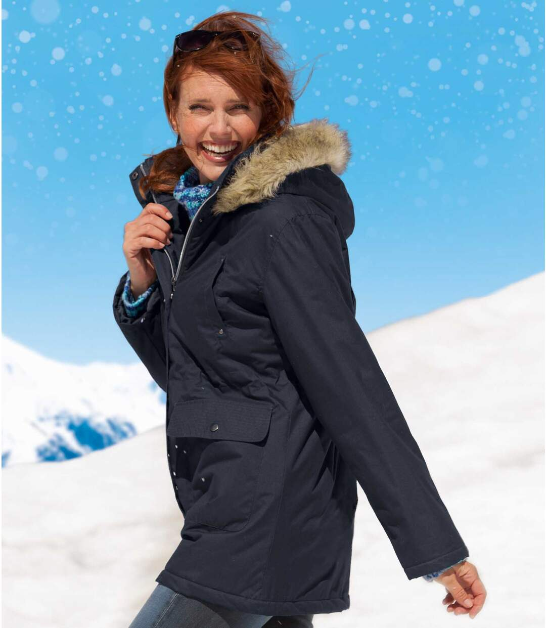 Women's Navy Blue Microtech Hooded Parka Coat