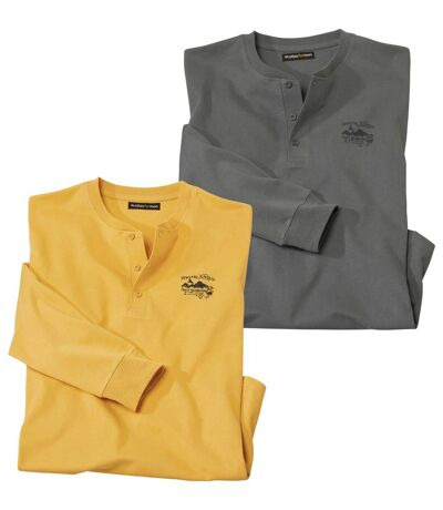 Pack of 2 Men's Casual Tops - Anthracite Yellow
