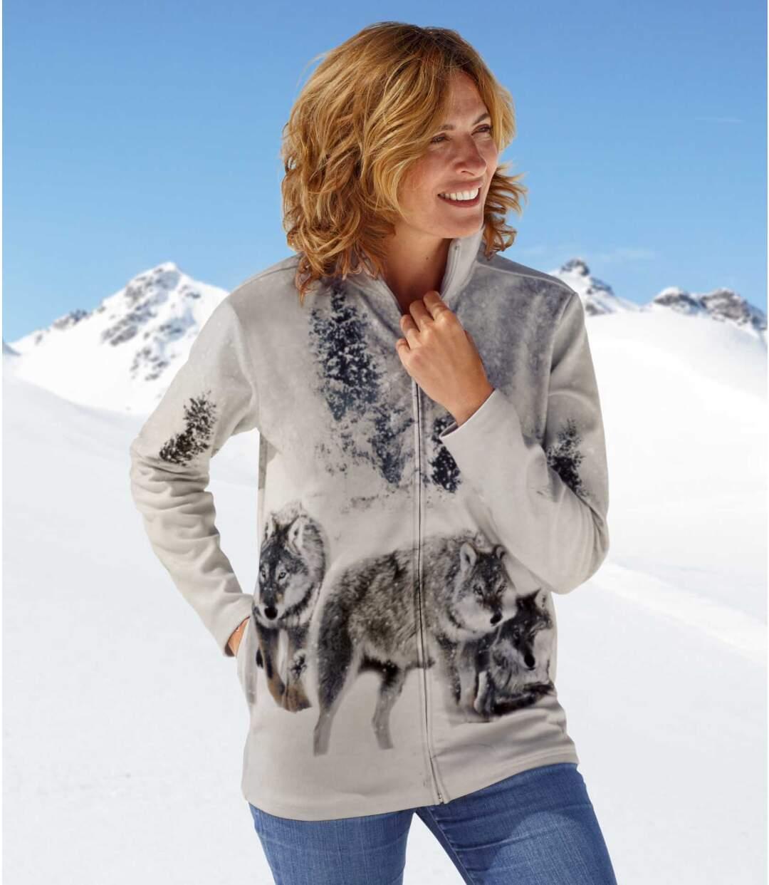 Women's Grey Fleece Jacket with Wolf Pattern
