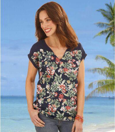 Women's Patterned Satin Twin-Fabric Tunic