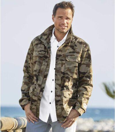 Men's Full Zip Camouflage Safari Jacket - Khaki